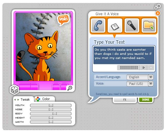 Students revise their writing by listening to a digital reading of their text via Text-to-Speech tools and the VOKI Avatar (2/3)