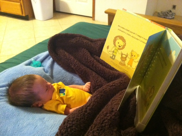 Listening to Dad read.
