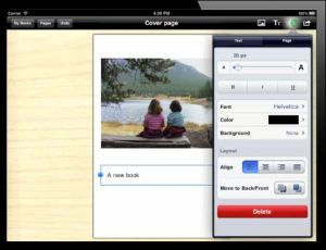 screen shot of Book Creator composing tool