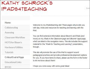 screenshot of Kathy Schrock's website on teaching with iPads