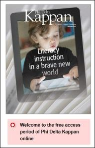 magazine cover shows child reading on a tablet